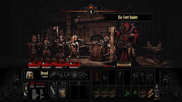Necromancer with his animated skeletons - Necromancer | Bosses - Bosses - Darkest Dungeon Game Guide & Walkthrough