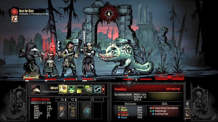 Crocodilian is the first major encounter in the DLC. - Enemies to avoid | The Courtyard Area | The Crimson Court - The Courtyard Area - Darkest Dungeon Game Guide & Walkthrough