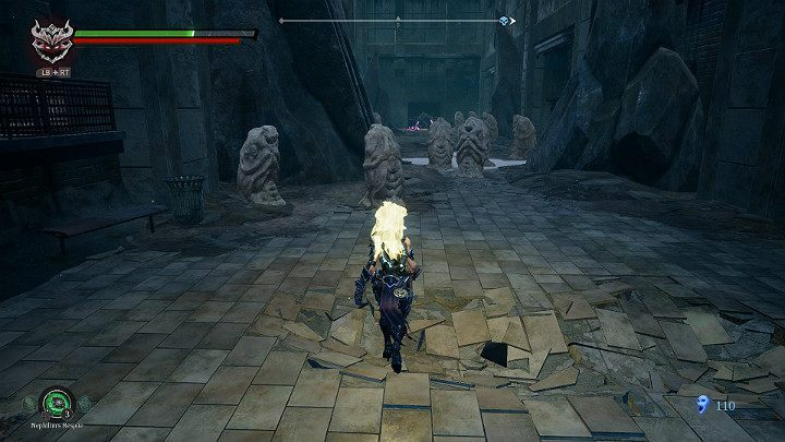 As you walk between the statues, watch out for potential enemies who may be hiding inside them - Sunken Tracks | Darksiders 3 Walkthrough - Walkthrough - Darksiders 3 Guide