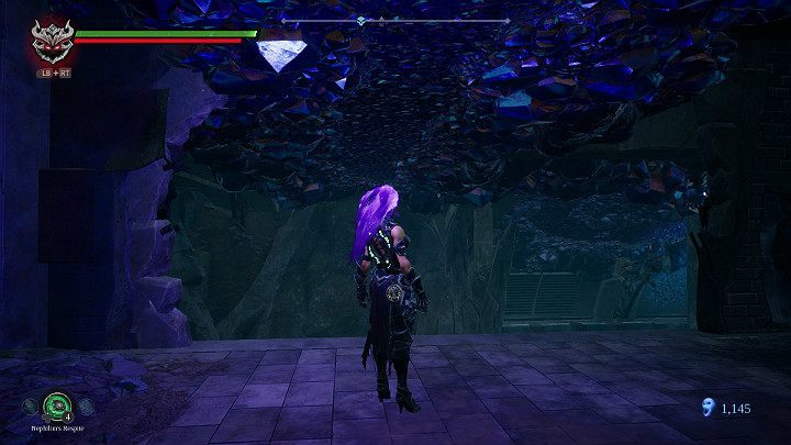 Jump to the upper level, and use the special property of force hollow to roll on the ceiling to the next room - Sunken Tracks | Darksiders 3 Walkthrough - Walkthrough - Darksiders 3 Guide