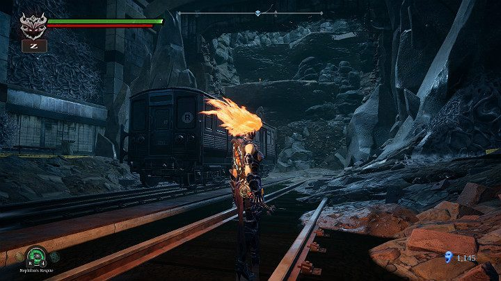 Hit the car to move it closer to the rock shelf - Sunken Tracks | Darksiders 3 Walkthrough - Walkthrough - Darksiders 3 Guide
