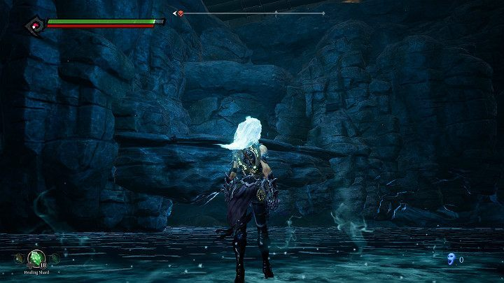 Approach the rock shelf visible on the screenshot and use the flame hollow to get to the top - Pipeline Exit | Darksiders 3 Walkthrough - Walkthrough - Darksiders 3 Guide