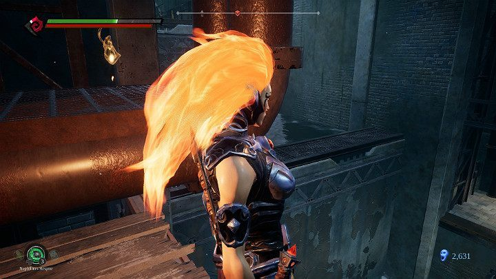 When making your way to the upper level of the severs, notice the item floating behind the pipe - Pipeline Exit | Darksiders 3 Walkthrough - Walkthrough - Darksiders 3 Guide