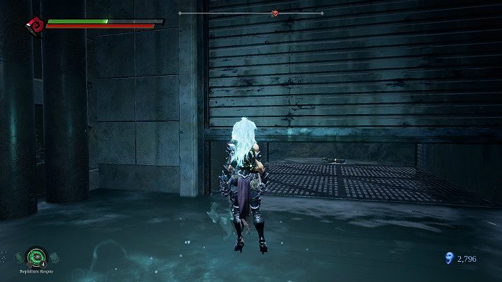 After the battle is over, use stasis to get under the garage gate - Pipeline Exit | Darksiders 3 Walkthrough - Walkthrough - Darksiders 3 Guide