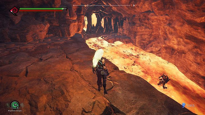 In the river of lava, you will find two golems, which will immediately start throwing projectiles at you - Pipeline Exit | Darksiders 3 Walkthrough - Walkthrough - Darksiders 3 Guide