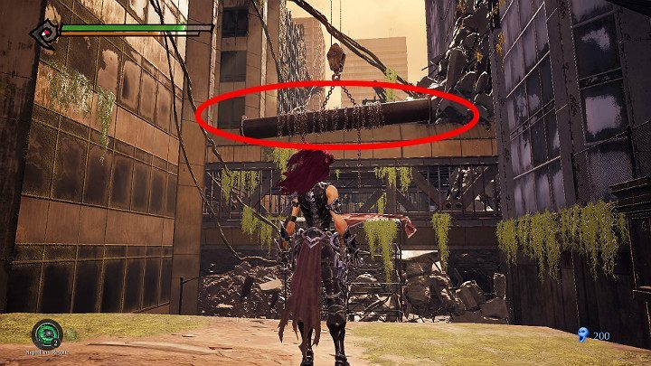 After defeating the first few enemies, you will have to climb the rock shelf, then jump out and use the attack button to catch the pipe shown in the picture and jump into the tunnel - West End | Darksiders 3 Walkthrough - Walkthrough - Darksiders 3 Guide