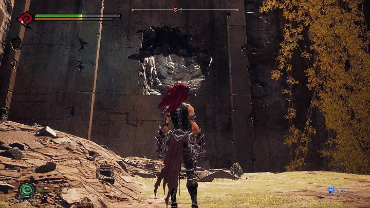 After the battle is over, go through the hole in the wall shown in the picture above - West End | Darksiders 3 Walkthrough - Walkthrough - Darksiders 3 Guide