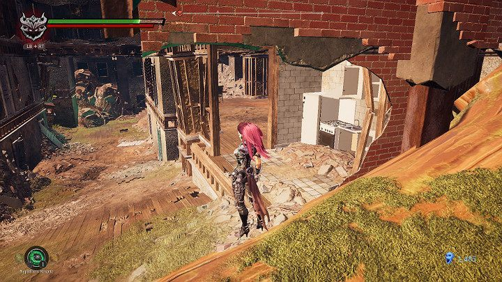 When you reach the ramp that leads upwards, look towards the ruined kitchen - Haven | Darksiders 3 Walkthrough - Walkthrough - Darksiders 3 Guide
