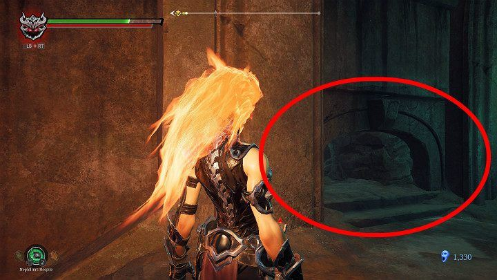 When you break the vases on the left side of the wall you will discover a narrow tunnel - Hollows | Darksiders 3 Walkthrough - Walkthrough - Darksiders 3 Guide