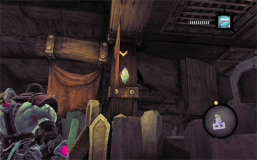 1) You can find the stone in the room beneath the balcony on which the Chancellor is standing - Resistance Stonebites locations - The Kingdom of the Dead - Sticks and Stones - Darksiders II - Game Guide and Walkthrough