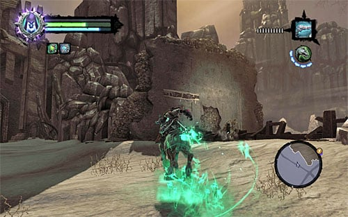 1) You can find the stone under the bridge pictured on screenshot 1, located in the central area of Leviathan's Gorge; however it's quite a challenge to get it - Resistance Stonebites locations - The Kingdom of the Dead - Sticks and Stones - Darksiders II - Game Guide and Walkthrough