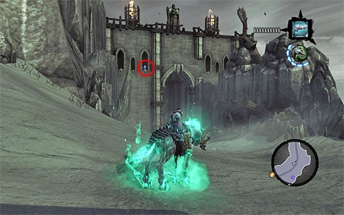 1) The stone is placed in the window of the ruins between the Maw and the Spine - Mystic Stonebites locations - The Kingdom of the Dead - Sticks and Stones - Darksiders II - Game Guide and Walkthrough