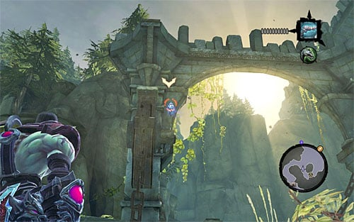 1) The stone is on the stone arch (looking from Baneswood, not the Stonefather's Vale), not far from where Vulgrim is standing - Mystic Stonebites locations - Forge Lands - Sticks and Stones - Darksiders II - Game Guide and Walkthrough