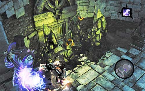 You should get to the east door - Shattered Forge - Additional Locations - Darksiders II - Game Guide and Walkthrough