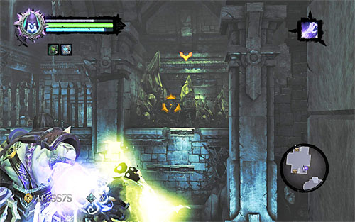 Pick up the first one and throw it at the yellow crystals in front of you (the above screen) - Shattered Forge - Additional Locations - Darksiders II - Game Guide and Walkthrough