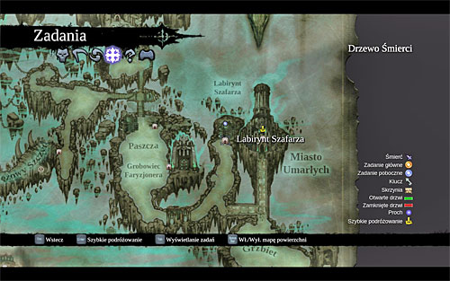 Naturally, begin by planning the journey to the [Soul Arbiter's Maze] (the above screen) from the world map; it's located in the east of the Kingdom of the Dead, in the area which neighbors with the Spine and the City of the Dead - Visit the Soul Arbiter's Maze - The Chancellor's Quarry - Darksiders II - Game Guide and Walkthrough
