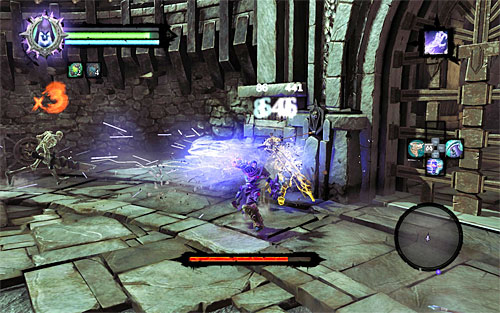 When the Soul Arbiter looses around 1/5 of his health, he will surround himself with a protective barrier and summon Skeletal Archers for aid - Defeat the Soul Arbiter - The Chancellor's Quarry - Darksiders II - Game Guide and Walkthrough