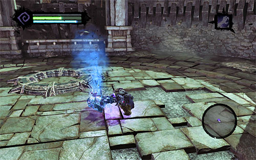 Continue hitting the Soul Arbiter until you empty his health bar, which will ensure your victory and reward you with two legendary items - a secondary weapon Executioner's Hooks and the Crown of the Dead talisman - Defeat the Soul Arbiter - The Chancellor's Quarry - Darksiders II - Game Guide and Walkthrough