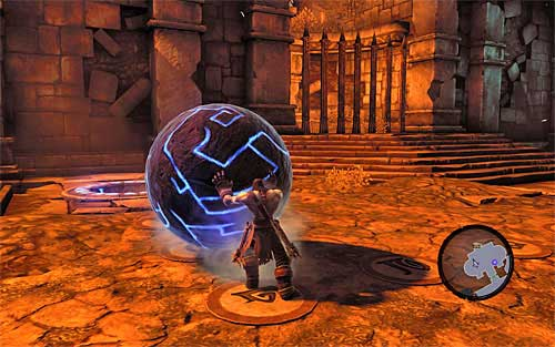 Notice that the gate with the other ball behind it opened - Restore the Fire of the Mountain (2) - The Fire of the Mountain - Darksiders II - Game Guide and Walkthrough