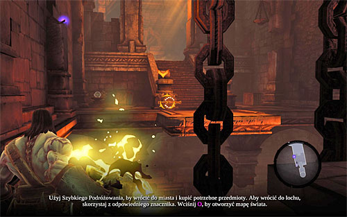 Pick up a shadowbomb again and aim it at the switch shown on the above screen - Restore the Fire of the Mountain (2) - The Fire of the Mountain - Darksiders II - Game Guide and Walkthrough