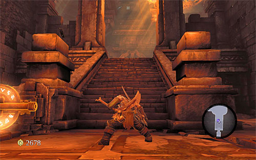 Before proceeding forth, examine the area left of the switch to find a Silver Platter needed to complete the [Lost and Found] side quest - Restore the Fire of the Mountain (2) - The Fire of the Mountain - Darksiders II - Game Guide and Walkthrough