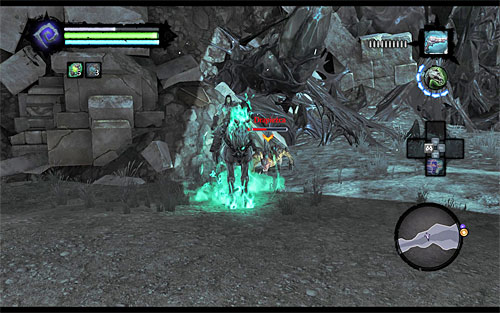 Depending on preferences, you can either stay mounted, eliminating monsters while riding (left mouse button), or send it away and fight on the ground - Find Drenchfort - The Tears of the Mountain - Darksiders II - Game Guide and Walkthrough