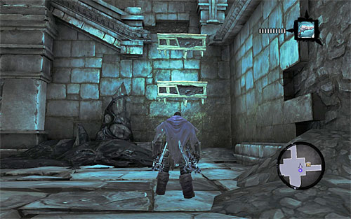 Now take a look around the central part of the chamber and you'll find further interactive edges, as seen on the above screen - Restore the Tears of the Mountain (2) - The Tears of the Mountain - Darksiders II - Game Guide and Walkthrough