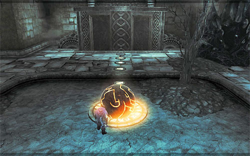 If you do it right, the ball should reach the place where the puzzle starts without any problems - Restore the Tears of the Mountain (2) - The Tears of the Mountain - Darksiders II - Game Guide and Walkthrough