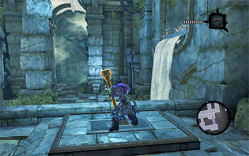 Turn around and run on the right wall to grab onto an interactive ledge - Restore the Tears of the Mountain (2) - The Tears of the Mountain - Darksiders II - Game Guide and Walkthrough