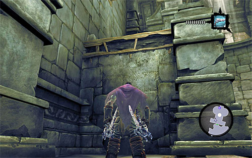 Locate the interactive edge (the above screen) which will help you get to the upper shelf - Wake the Construct (2) - To Move a Mountain - Darksiders II - Game Guide and Walkthrough