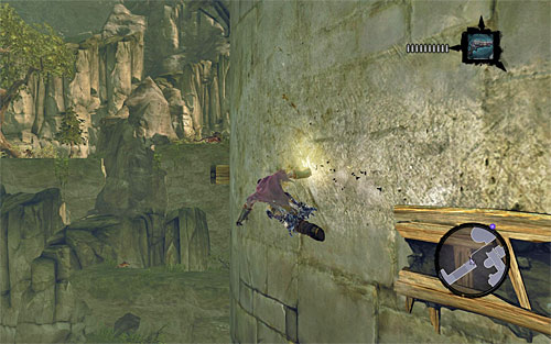 Jump from one pole to another, and land on a small rock ledge - Wake the Construct (2) - To Move a Mountain - Darksiders II - Game Guide and Walkthrough