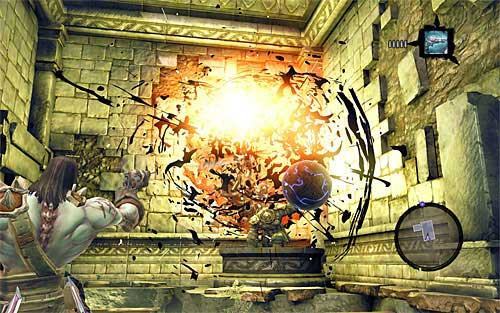 When you get to the second level of the temple, locate a new blue ball and aim at the dormant shadowbomb to free it - Wake the Construct (2) - To Move a Mountain - Darksiders II - Game Guide and Walkthrough