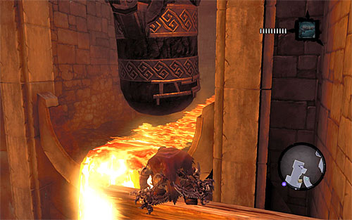 Catch onto the nearby ledge and jump towards the interactive edge - Wake up the Keeper (1) - The Heart of the Mountain - Darksiders II - Game Guide and Walkthrough