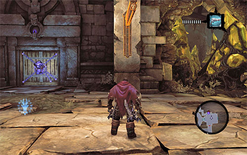 Enter a big room and notice that the door has just shut behind you - Wake up the Keeper (1) - The Heart of the Mountain - Darksiders II - Game Guide and Walkthrough