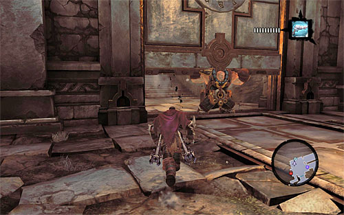 Since you have to wait for Karn to enter the location and position himself near the other big gate, you need to wait on the beam - Wake up the Keeper (1) - The Heart of the Mountain - Darksiders II - Game Guide and Walkthrough