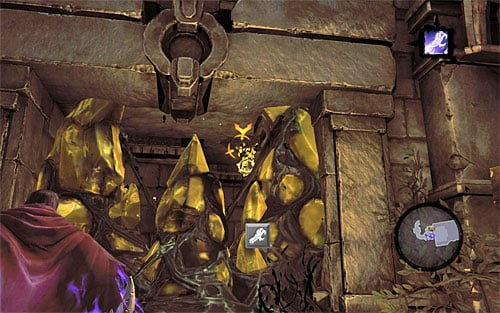 Jump down to the lower ledge and join Karn by using the Death Grip on the interactive catch between you and him - Wake up the Keeper (2) - The Heart of the Mountain - Darksiders II - Game Guide and Walkthrough