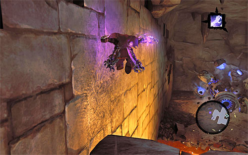 Carefully, jump down to other lower ledge and wall run along the left wall, thanks to which you will reach the place where the construct was left - Wake up the Keeper (2) - The Heart of the Mountain - Darksiders II - Game Guide and Walkthrough