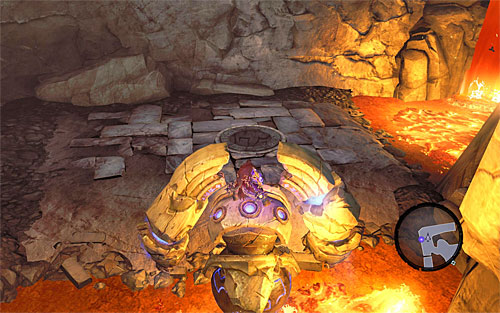 Start exploring the lowest level of the foundry, taking advantage of the fact that the construct can freely move over lava - Wake up the Keeper (2) - The Heart of the Mountain - Darksiders II - Game Guide and Walkthrough