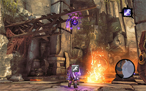 Go towards the dilapidated wooden structure that has been located in the Western part of the main area (the above screenshot) - Wake up the Keeper (2) - The Heart of the Mountain - Darksiders II - Game Guide and Walkthrough
