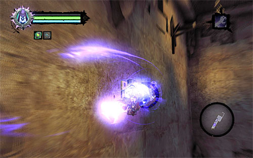 Go straight ahead and start a wall run along the left wall, and catch on the way to the interactive catch using death grip - Find the Eternal Throne (1) - The Lord of Bones - Darksiders II - Game Guide and Walkthrough