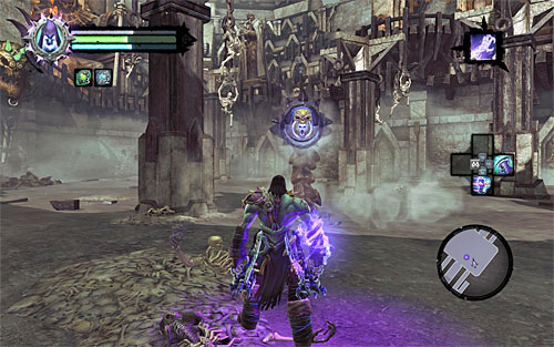 Wait for the opportunity when Gnashor emerges from underground, standing as seen on the above screen - Boss 8 - Gnashor - The Toll of Kings - Darksiders II - Game Guide and Walkthrough
