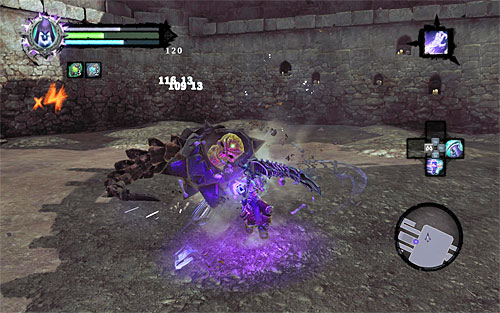 A successful Death Grip attack will throw the boss down, so get to him quickly and start hitting him will all you've got - Boss 8 - Gnashor - The Toll of Kings - Darksiders II - Game Guide and Walkthrough