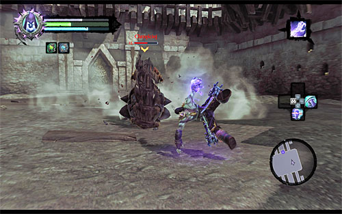 After a while, Ghashor should dive underground again, but this time he'll occasionally put a form of blades rolling on the surface (the above screen) - Boss 8 - Gnashor - The Toll of Kings - Darksiders II - Game Guide and Walkthrough