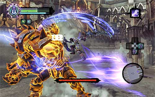 I recommend attacking the boss each time after the whip attack or when he's close to finishing it and you're certain he won't be able to reach you - Boss 8 - Gnashor - The Toll of Kings - Darksiders II - Game Guide and Walkthrough