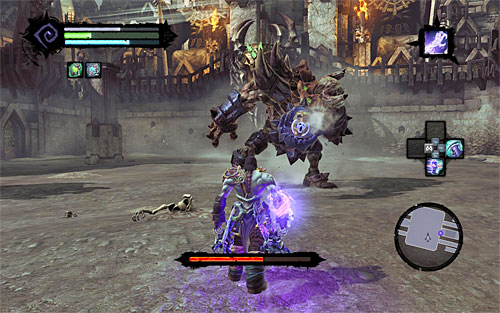Continue attacking Gnashor until he exposes himself to another Death Grip attack (the above screen) - Boss 8 - Gnashor - The Toll of Kings - Darksiders II - Game Guide and Walkthrough