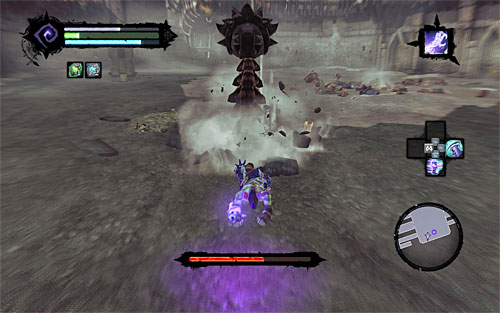 Now you need to be even more careful when it comes to dodging, because the boss will shoot out from underground with large very speed - Boss 8 - Gnashor - The Toll of Kings - Darksiders II - Game Guide and Walkthrough