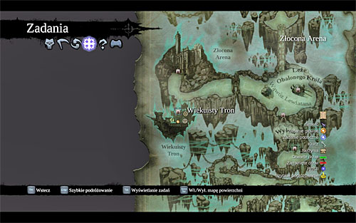 You can get to the [Eternal Throne] by returning to the starting point in the Gilded Arena, but it's much easier to select it from the world map (the above screen), even more so since there are no other places in the Gilded Arena worth checking out - Bring the Skull to the Eternal Throne - The Toll of Kings - Darksiders II - Game Guide and Walkthrough