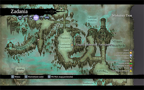 Your current mission's destination is [Phariseer's Tomb] located in the central part of the Dead Lands, and I definitely recommend planning the journey from the world map (the above screen) - Find Phariseer's Tomb - Phariseer - Darksiders II - Game Guide and Walkthrough