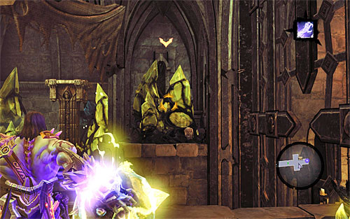 On the balcony, start using shadowbombs to destroy all yellow formations visible in the area - Resurrect Phariseer (1) - Phariseer - Darksiders II - Game Guide and Walkthrough