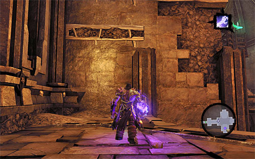 Ignore the interactive handle and turn left to scale the wall where shown on the screen - Resurrect Phariseer (1) - Phariseer - Darksiders II - Game Guide and Walkthrough